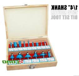 """1/4"""" Shank 15pc Router Bit Wood Working Power Tools Shop Car"""
