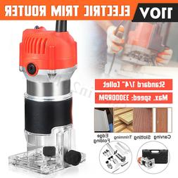 110V 1/4'' 680W Trim Router Edge Wood Clean Cuts Power Woodw
