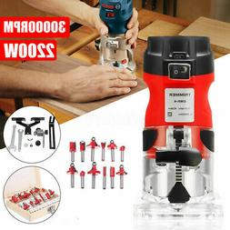 110V 1/4'' Electric Hand Trimmer Wood Routers Joiners + 12Pc