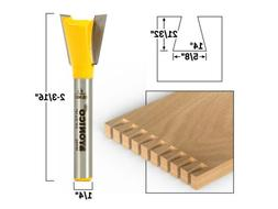 "14° X 5/8"" Dovetail Router Bit - 1/4"" Shank - Yonico 14115q"