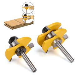 """2 Bit Tongue and Groove Router Bit Set - 1/4"""" Shank For Wood"""