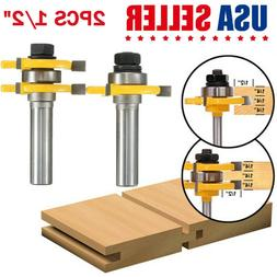 """2pcs Tongue and Groove Router Bit Set 1/2"""" Shank T-type 3-to"""