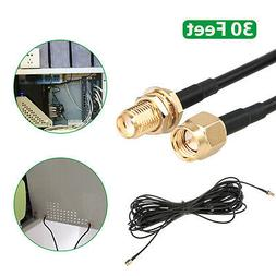 30ft WiFi Antenna SMA Extension Coaxial Cable Cord for Wi-Fi