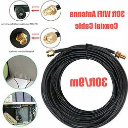 30ft WiFi Antenna SMA Extension Coaxial Cable Cord for Wirel