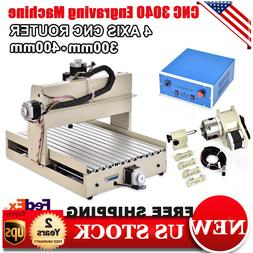 4 AXIS 3040 CNC Router Engraver Machine Engraving 3D Carving