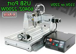 4 axis USB CNC 6040 2.2KW spindle mach3 router engraving mil