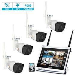 4 Cameras 960P HD LCD Wireless Home Security Surveillance Vi