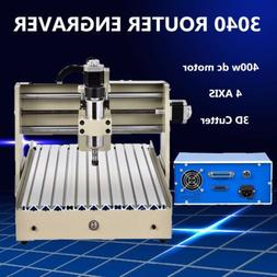 400W 4 AXIS CNC 3040 ROUTER ENGRAVER ENGRAVING MACHINE DRILL