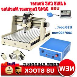 400W 4AXIS USB CNC Router 3040 Engraver Wood Milling 3D Carv