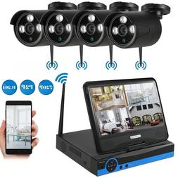 """Wireless Security System 4Pcs IP Camera with 10.1"""" Monitor H"""