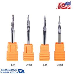 4Pcs Tapered Ball Nose End Mill Set Carbide 4mm Shank CNC Ro