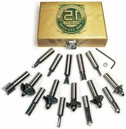 MLCS 8377 15-Piece Router Bit Set with Carbide-Tipped 1/2-In