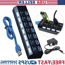 HDE 4-Port SuperSpeed USB 3.0 Hub with Individual On/Off Swi