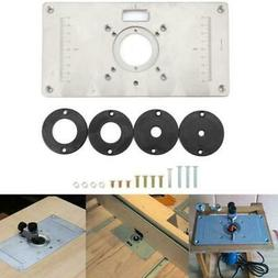 Aluminum Router Table Insert Plate + Rings For Trimmer Woodw