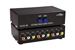 2 Port Video Audio Av Switch - 2 Input 1 Output - 2 DVD to 1