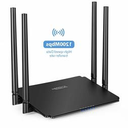 Black Dual Band Smart Router 1200Mbps With EU US Plug Type W