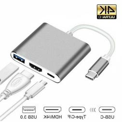 New Type C USB 3.1 to USB-C 4K HDMI USB 3.0 Adapter 3 in 1 H