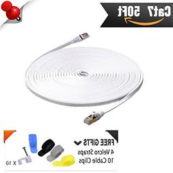 Cat 7 Shielded Ethernet Patch Cable 50 ft White  Cat7 Flat I