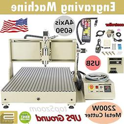 Engraving Milling Machine, USB 2200W 6090 4 Axis CNC Router