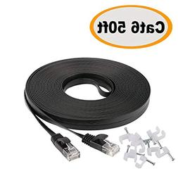 Cat 6 Ethernet Cable 50 ft with Clips- Faster Than Cat5e/Cat