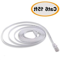 Cat 6 Ethernet Cable 15 ft - Flat Internet Network Lan patch