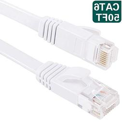 50 ft Ethernet Cable Cat6 Network Cable for PS4/Xbox,Flat In