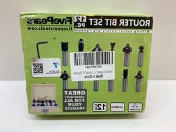 FivePears Tungsten Carbide Router Bits - 12 Piece Set With 1