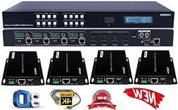 4x4 HDbaseT 4K HDMI Matrix Switcher w/ 4 PoC Receivers HDCP2