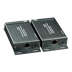 Basicolor HDMI Cat5 Extender With 3.5mm Audio Extractor over