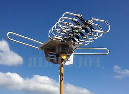 HDTV Outdoor Amplified Antenna HD TV 36dB Rotor Remote 360°