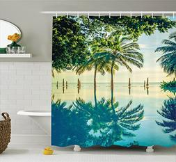 Ambesonne House Decor Shower Curtain Set, Pool with Tree Sil