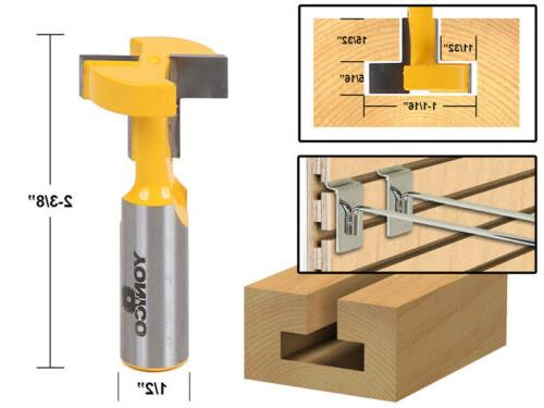 Yonico 14188 T-Slot and T-Track Slotting Router Bit 1/2-Inch
