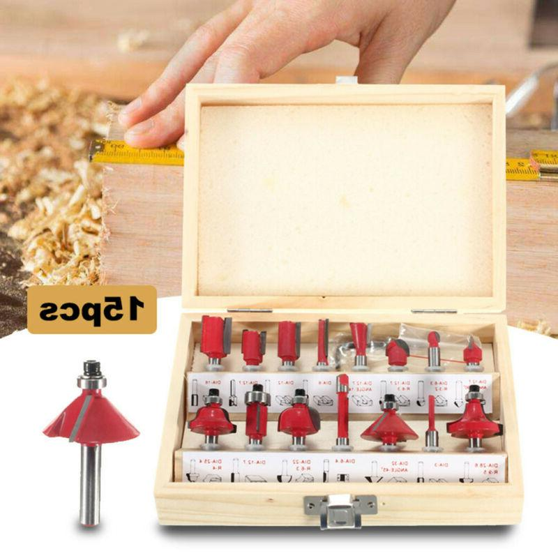 15pcs 1/4 Router Bit Set Shank for Tungsten Carbide Rotary T