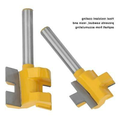 2 pcs Tongue And Groove Router Bit Set 1/4 Inch Shank Woodwo