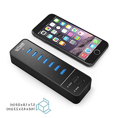 HooToo USB 3.0 Hub with 2 Smart Charging and Ports for 6s, iPhone iPad, and More