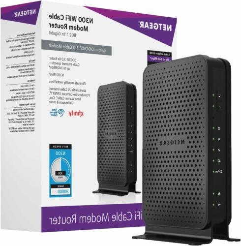 NETGEAR N300 WiFi DOCSIS 3.0 Cable Modem Router Certified fo