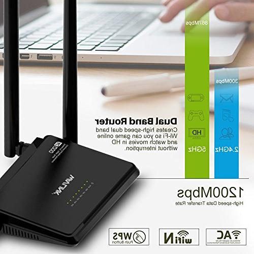 Wavlink Dual Band household Wireless Router Signal Booster 4x5dBi Antennas