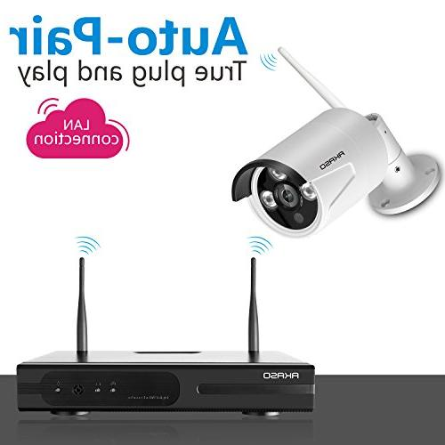 AKASO Security Camera System Wifi Video Surveillance NVR Plug&Play, P2P, Vision 65ft, Weatherproof NO HDD