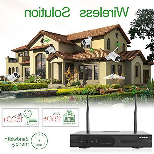 AKASO Wireless Security System Video Surveillance Plug&Play, Night 65ft, Built-in