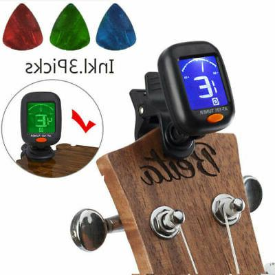 black chromatic lcd clip on electric tuner
