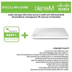 Cisco Meraki MR42 Cloud-Mng'd Wless AP + 3yr of Enterprise L