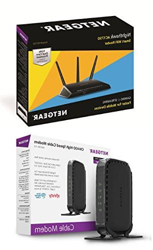 Smart Dual Wi-Fi Gigabit Router CM400 Cable Modem DOCSIS