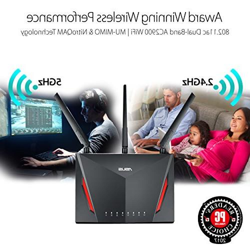 ASUS AC2900 Dual-band Gigabit Wireless 1.8GHz AiProtection by Trend AiMesh Whole Compatible