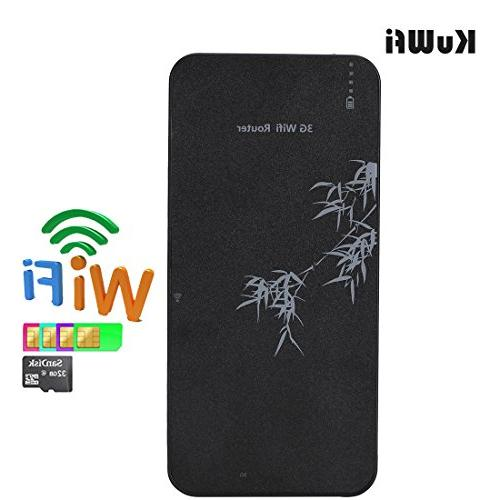 KuWFi Smart Moblie Bank WIFI Mobile wifi Hospot Router RJ45 with SIM slot Support WCDMA 2100Mhz Router TF