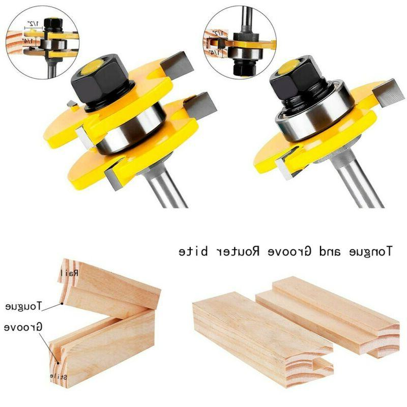 """2pcs Tongue and Groove Router Bit 3 Teeth T Shape 1/4"""" Shank"""