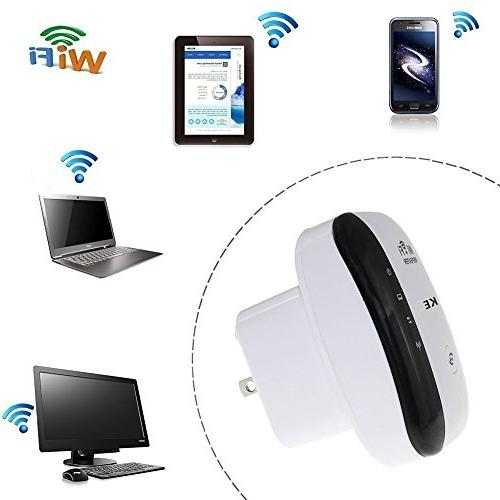 AMAKE WiFi Repeater/Internet Signal 300Mbps,Mini Access High Gain Alexa, Extends WiFi to Smart & Devices