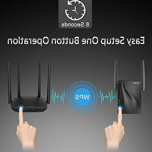 WiFi 1200Mbps Signal Booster, 2.4 5GHz Extender Ethernet Port, Simple