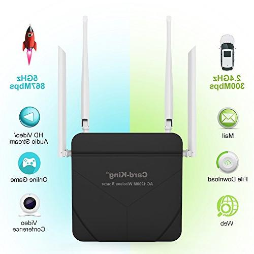 Wireless Router with Wifi Repeater 1200mbps High Range Extender with ports for Home Office Restauran