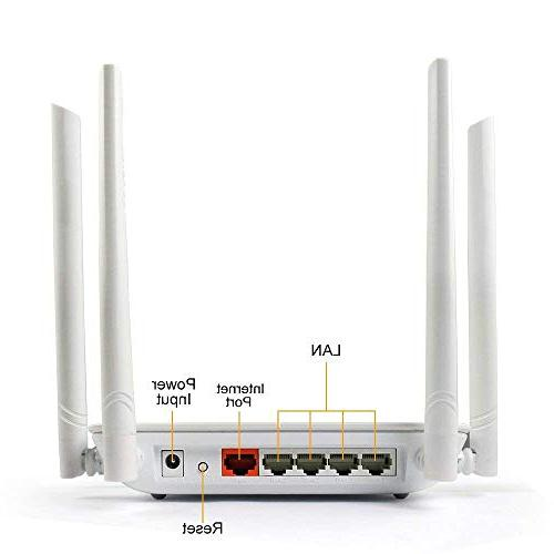 Wireless 1200mbps Range Wifi High Router 4 Lan Ports Home Office internet Router with Wifi for 2.4