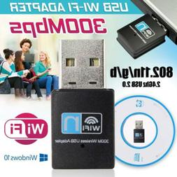 300Mbps Dual Band 2.4GHz WiFi Adapter USB Wireless Dongle fo